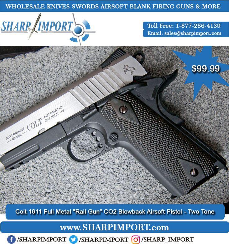 "Colt 1911 Full Metal ""Rail Gun"" CO2 Blowback Airsoft Pistol - Two Tone  Buy Now: 1-877-286-4139  . . #gunporn #gun #guns #girlwithguns #revolver  #gunporn #pistol #training #shoot #shooting #gunsdaily #gunsweekly #9mm #action  #mexican"