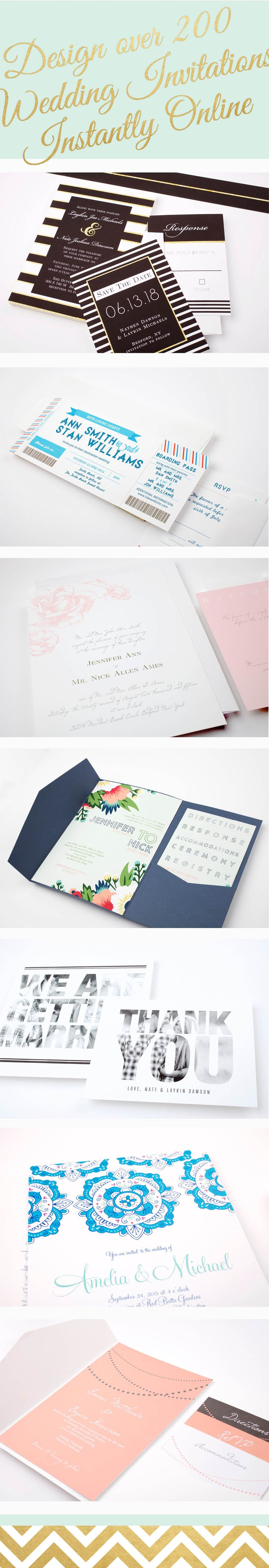 Full customizable wedding invitation sets in over 150 different colors.