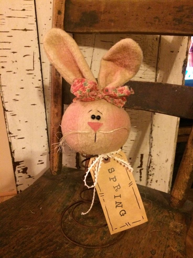 Hand made bunny on rusty bed spring by theantiquepallet on Etsy