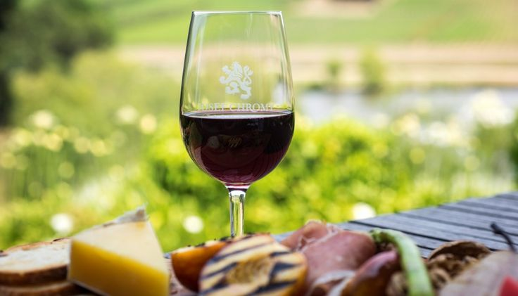 Red Wine, with Charcuterie Board, while enjoying a view of the vineyard #josefchromywines #restaurantaustralia #tasmanianwine