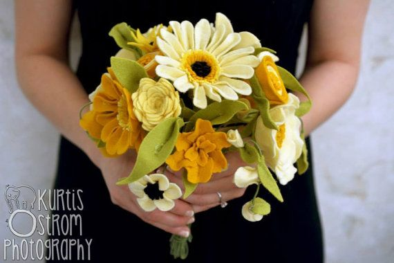 Mustard Yellow Felt Flower Bridal Bouquet