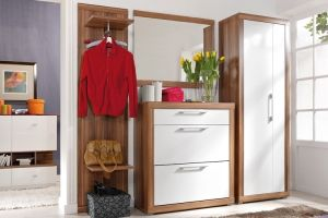 EDI BRW Entrance Hall furniture set. Edi BRW furniture is a modern collection for the entrance hall. It consists of 4 items in plum wallis / white gloss colour. A strong body,  and comfortable handles characterize this collection. A spacious 2-door wardrobe, shoe cabinet, coat stand and mirror of the furniture Edi BRW create a practical and comfortable hallway. #furniture #polish #brw #hallway #entrancehalls
