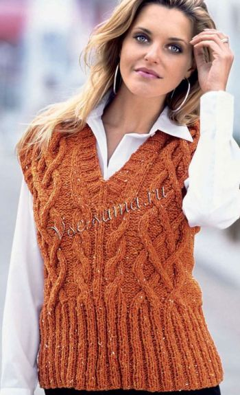 Оранжевый жилет спицами, фото