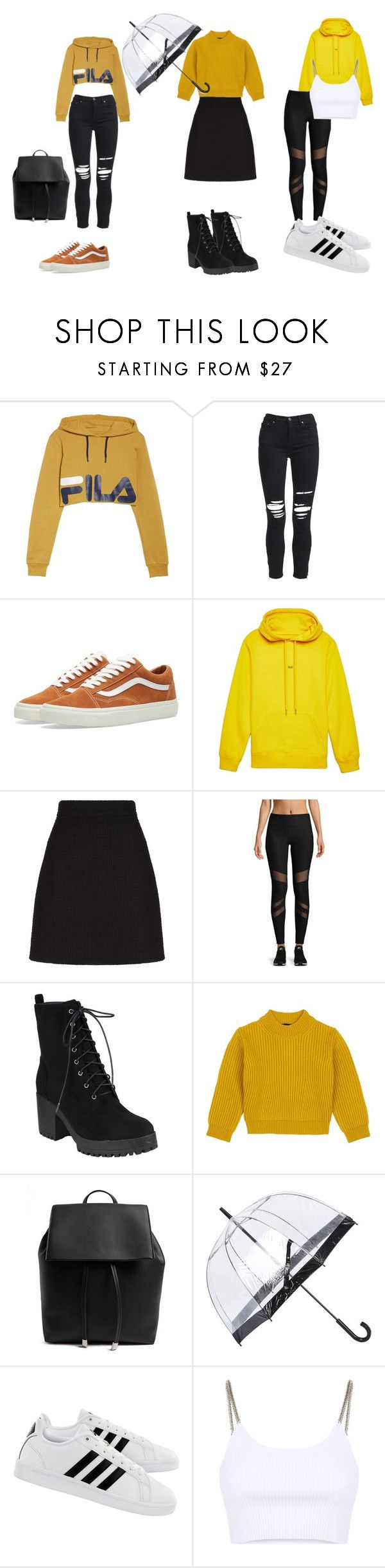 """""""a hufflepuff in Londen"""" by shannon-tilley on Polyvore featuring Fila, AMIRI, Vans, Helmut Lang, Gucci, X By Gottex, Comme Moi, Forever 21, Fulton and adidas"""
