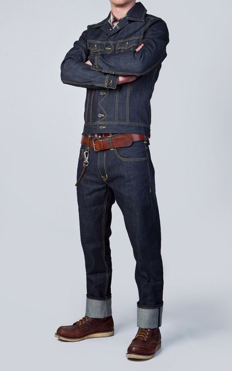 Lee 101 Trucker denim jacket reissue and Lee selvedge denim jeans.