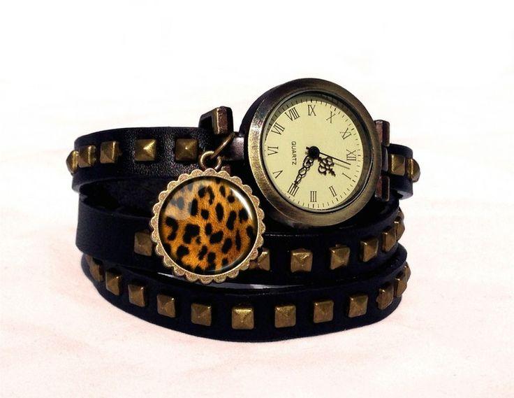 Leather watch bracelet - Cheetah, 0158WBBC  from EgginEgg by DaWanda.com