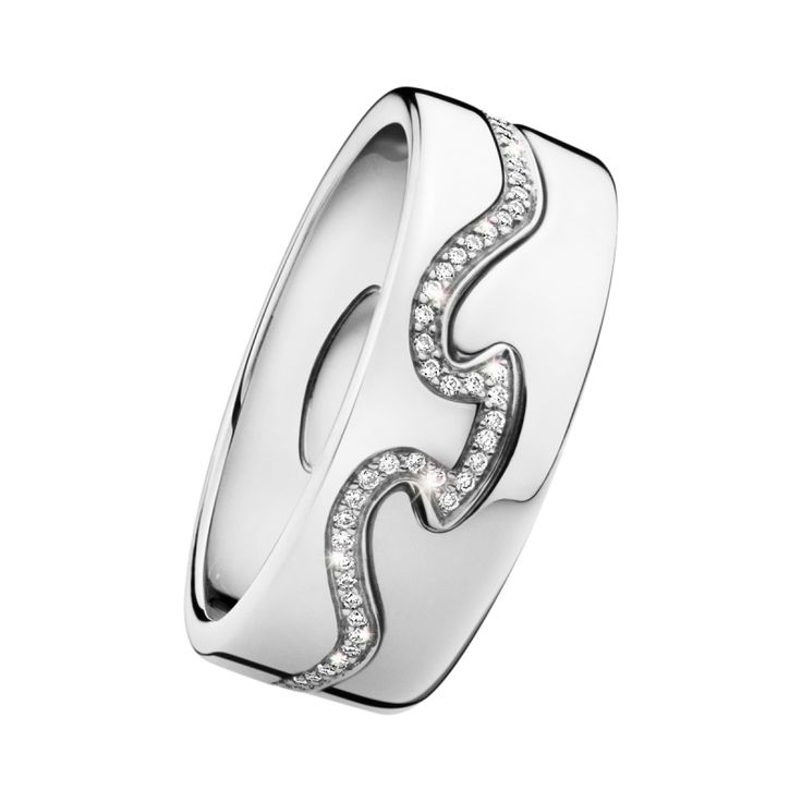 Fusion Ring - 18ct White Gold/Diamonds/2-Parts - Diamonds in the frame - CJ  #diamonds #diamond #jewellery #lovely #gift #catherinejones #cambridge #local #spiral #wedding #wedding band #georgjensen
