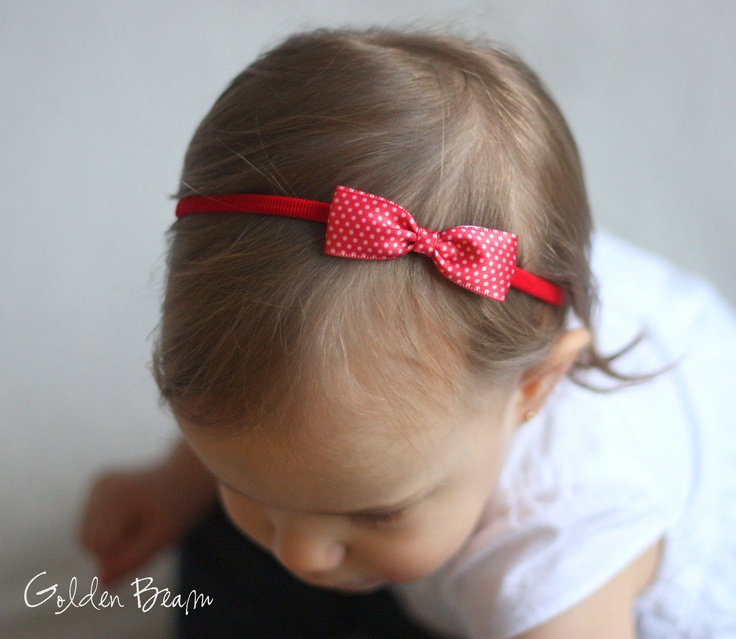 Baby Headband Bows - Small Red Polka Dot Bow Handmade Headband. £5.00, via Etsy.