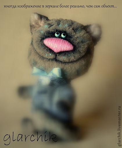 кот... чеширский - серый,чеширский кот,авторская работа,коллекционная игрушка