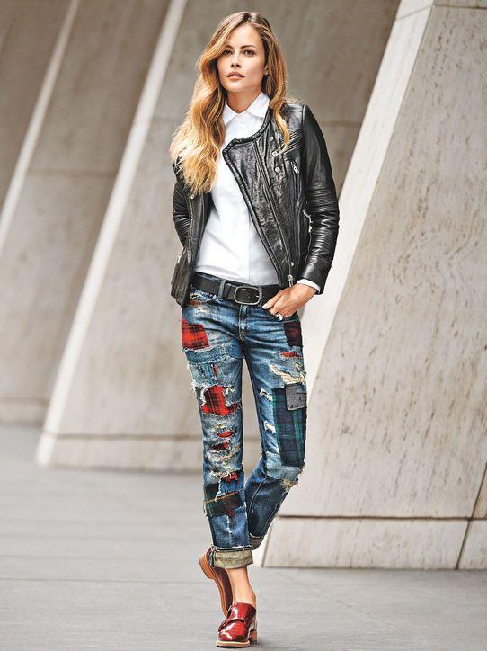 Denim Outfit Ideas: Patchwork Denim. Denim & Supply Ralph Lauren jeans, $398, ralphlauren.com; Iro jacket; Frame shirt; Rag & Bone belt; The Office of Angela Scott oxfords, $550, theofficeofangelascott.com  //Pinned on @benitathediva , LifeSTYLE Blog