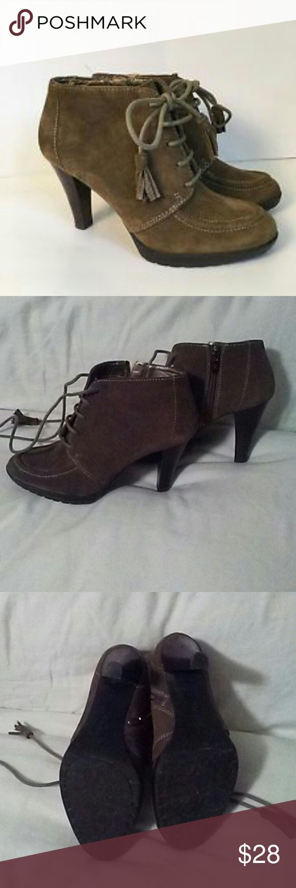 """Anne Klein olive green Tutorial ankle booties Adorable genuine suede ankle booties in an olive green. Zips on side and laces up. Nice neutral olive green. Great shape...minimal wear. Heel measures 3.5"""" high.  Anne Klein tutorial size 7.5 Anne Klein Shoes Ankle Boots & Booties"""