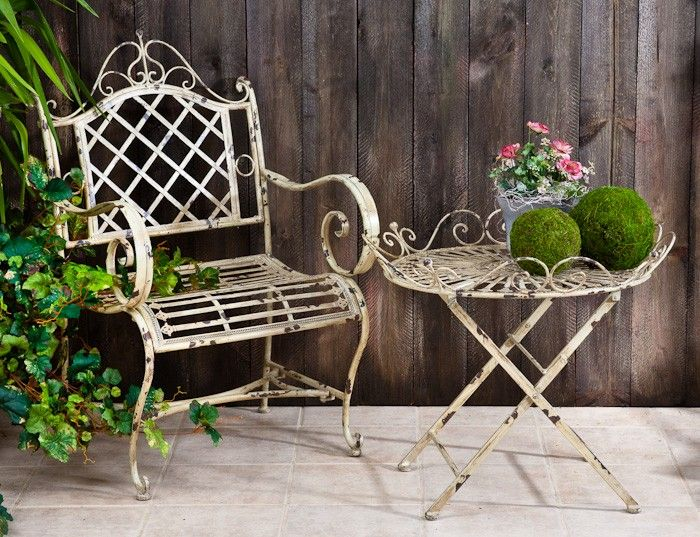 White Iron Table And Chairs Part - 46: Iron Table U0026 Chair Set