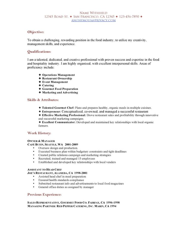 resume sample of a professional with experience in the food and hospitality industry looking for a job at a restaurant