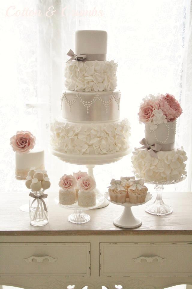 romantic ruffles wedding cake