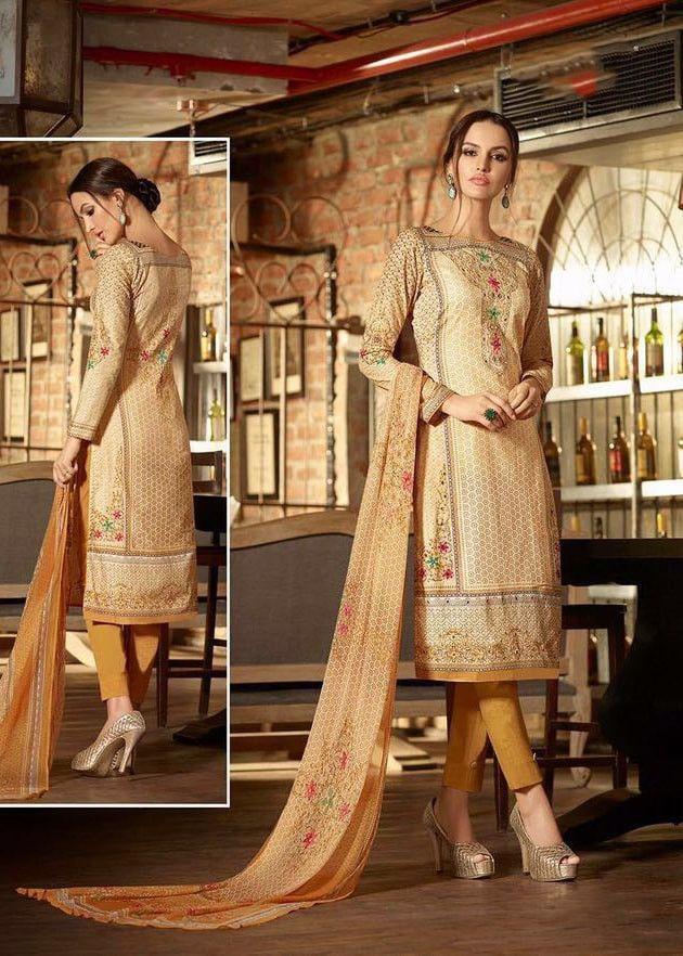 Brown Cotton Straight Cut Syle Salwar Kameez