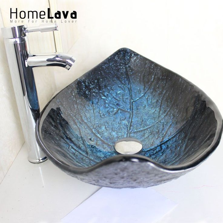 Leaf Shape Tempered Glass Wash Sink With Faucet Ba…