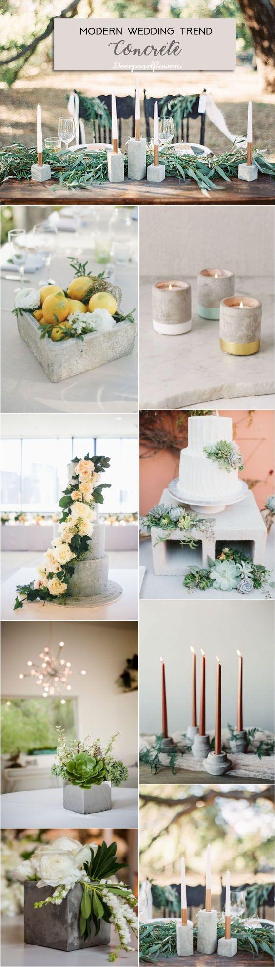 Modern cement grey wedding ideas / http://www.deerpearlflowers.com/modern-wedding-theme-ideas/