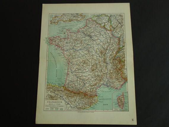FRANCE old map of France 1913 detailed vintage by VintageOldMaps