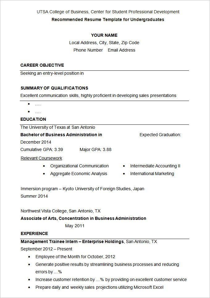 University Student 4-Resume Examples Student resume template
