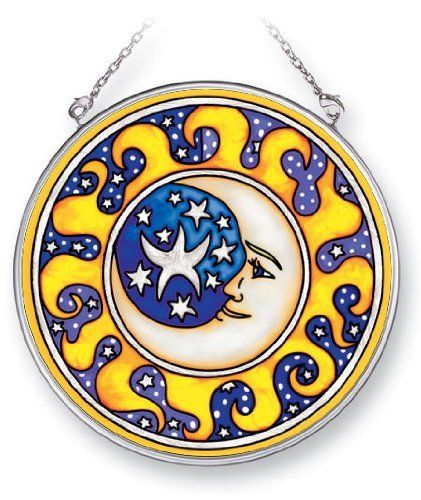 "4.5"" Round Moon & Stars Stained Glass Suncatcher by Amia by Amia. $15.95"
