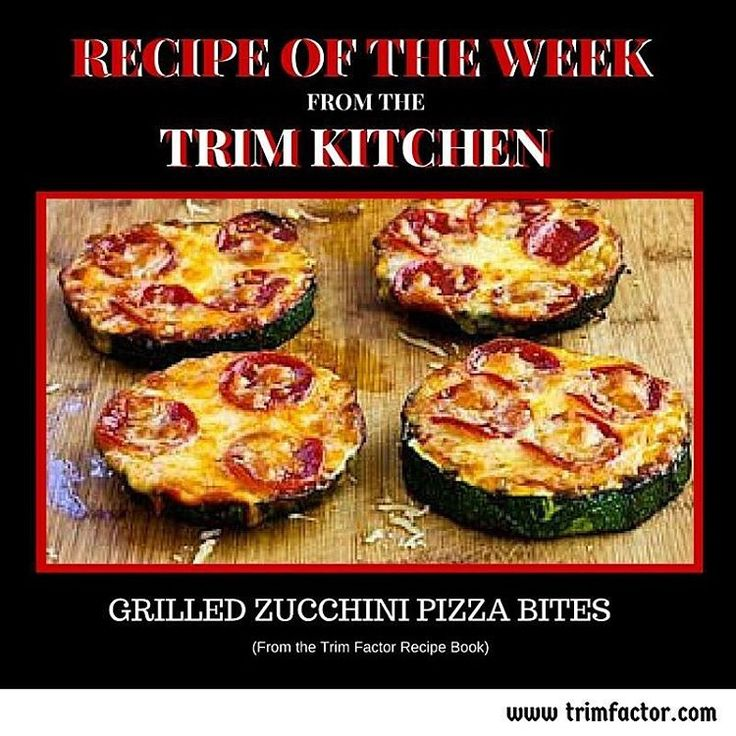 Delicious Grilled Zucchini Pizza Bites  Grilled Zucchini Pizza Slices are a healthier low-carb and gluten-free pizza option that just might satisfy that pizza craving! They are from our Trim Factor Recipe Book and are perfect as a low carb snack, or meal, and are great snacks cold for kids' lunch boxes. #lowcarb #healthysnacks #nutrition #healthyrecipes