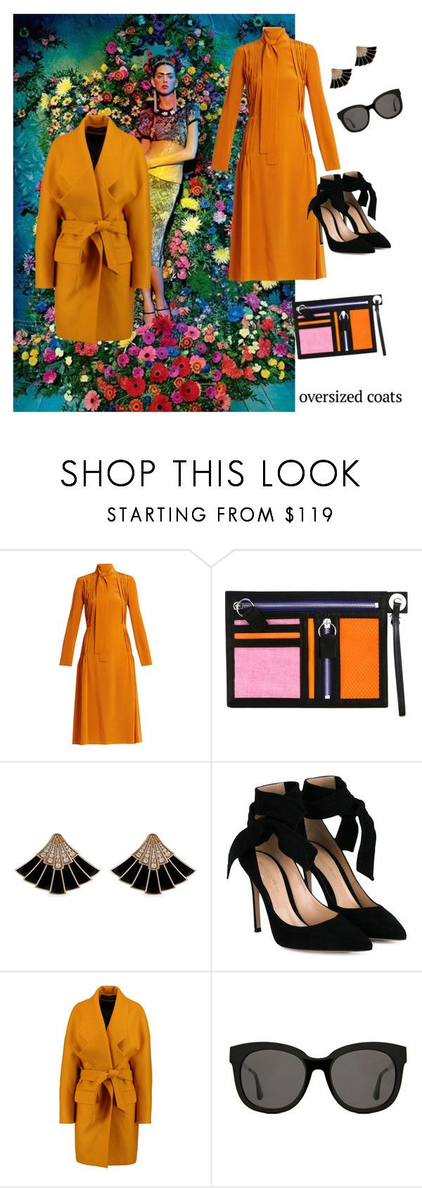 """👗Oversized coats"" by ec300 ❤ liked on Polyvore featuring Rochas, Kenzo, Gianvito Rossi, Balmain and Gentle Monster"