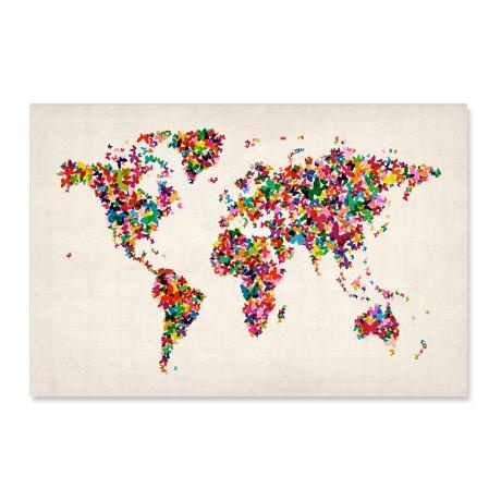 Butterflies World Map Canvas – A1 from 2012's Design Greats - R549 (Save 27%)