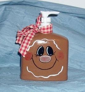 Handpainted Gingerbread Soap Dispenser by llister on Etsy, $7.99