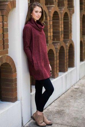 Cozy Talk Burgundy Sweater Dress
