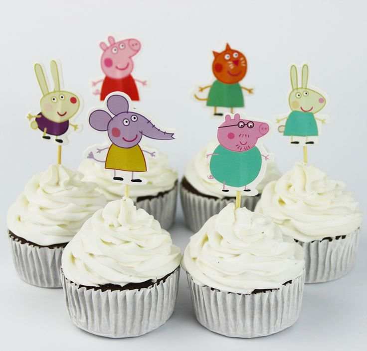 Peppa Pig and Friends Cupcake ice cream Picks Birthday Cake Toppers 24 - Pack