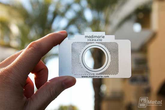 camera shaped metal business card for photographer