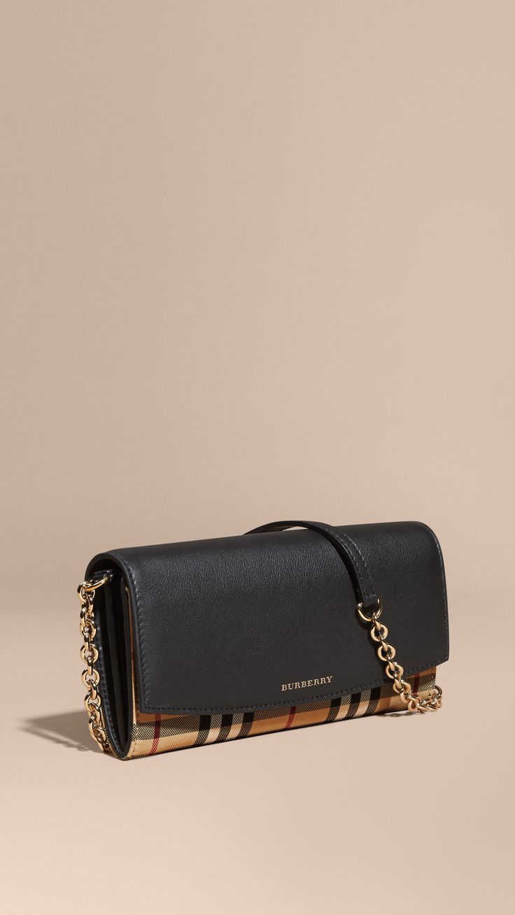 Horseferry Check and Leather Wallet with Chain Black | Burberry