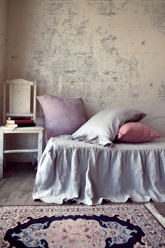 Light Grey Stonewashed Natural Linen Ruffled Bedskirt. Dust ruffle. Bed Valance