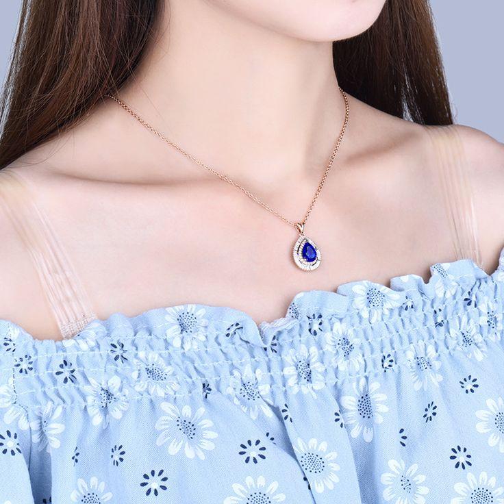 Solid 18Kt Rose Gold Diamond Tanzanite Pendant  Diamonds: Natural DiamondsCarat Weight:0.65ctCut: RoundClarity:SIColor:G-H  Tanzanite: 100% Natural...