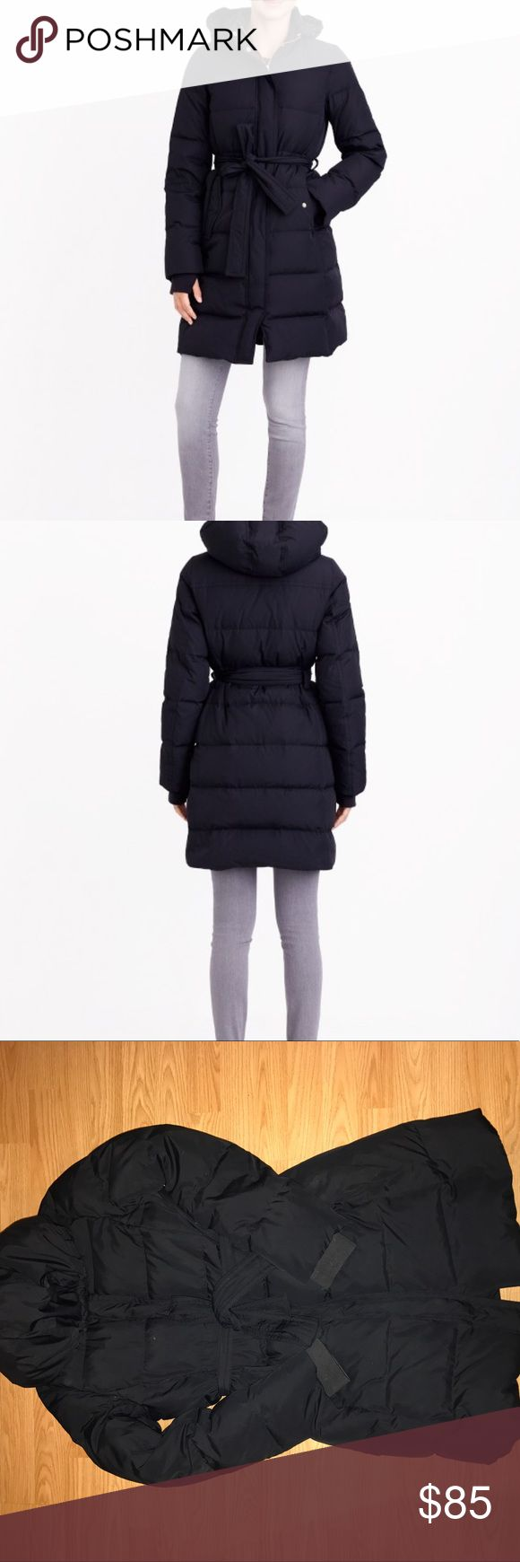 JCrew belted puffer jacket Good condition, super warm puffer jacket. Hits mid thigh, hood is removable with snaps. Belted J. Crew Jackets & Coats Puffers