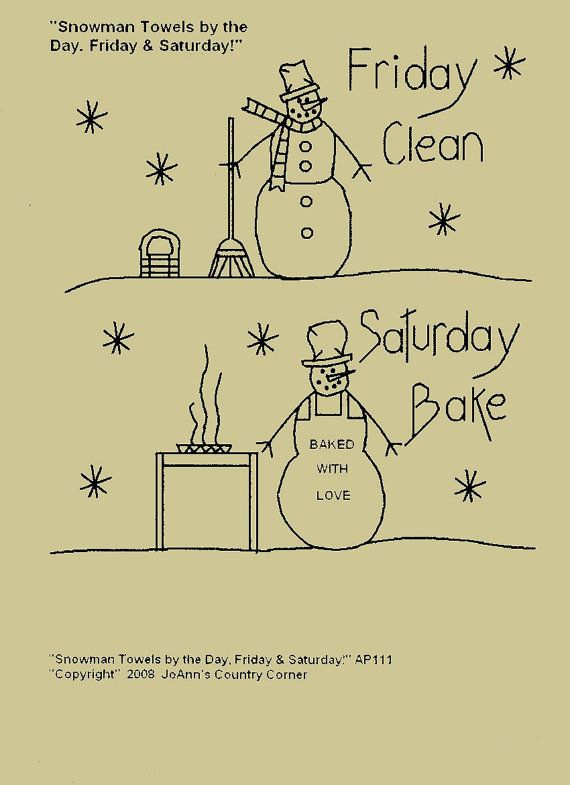 Primitive Stitchery EPattern Snowman Towels by JoAnnCountryCorner, $2.25