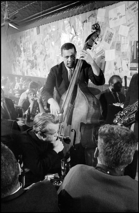Charles Mingus and his band (pictured here Horace Parlan on piano) performing live at the Five Spot Cafe, NYC, 1958.