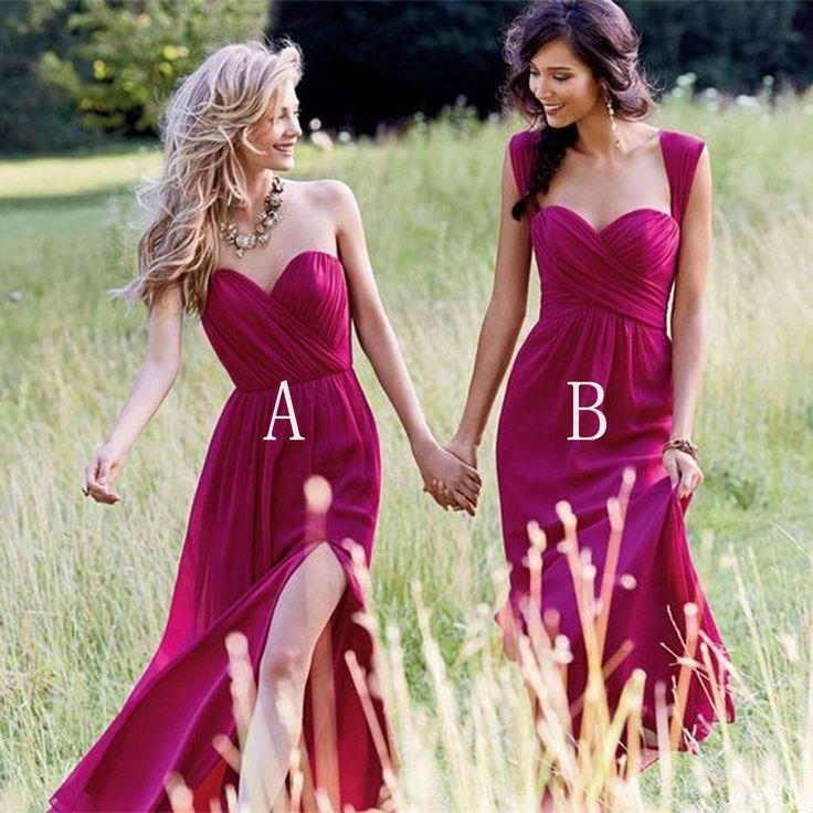 Cheap Simple Formal Chiffon Side Split Floor Length Custom Make Discount Long Bridesmaid Dresses, WG178