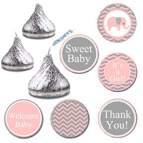 Pink Elephant Baby Shower Printable Candy Labels by JusPrintables