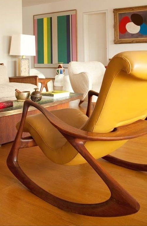 Vladimir Kagan rocking chair, in a cheery citrus orange.