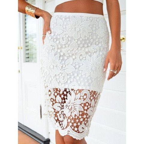 New White Lace Crochet Overlay Skirt now available at Ruby Liu! ♥ http://rubyliuboutique.com/collections/lace