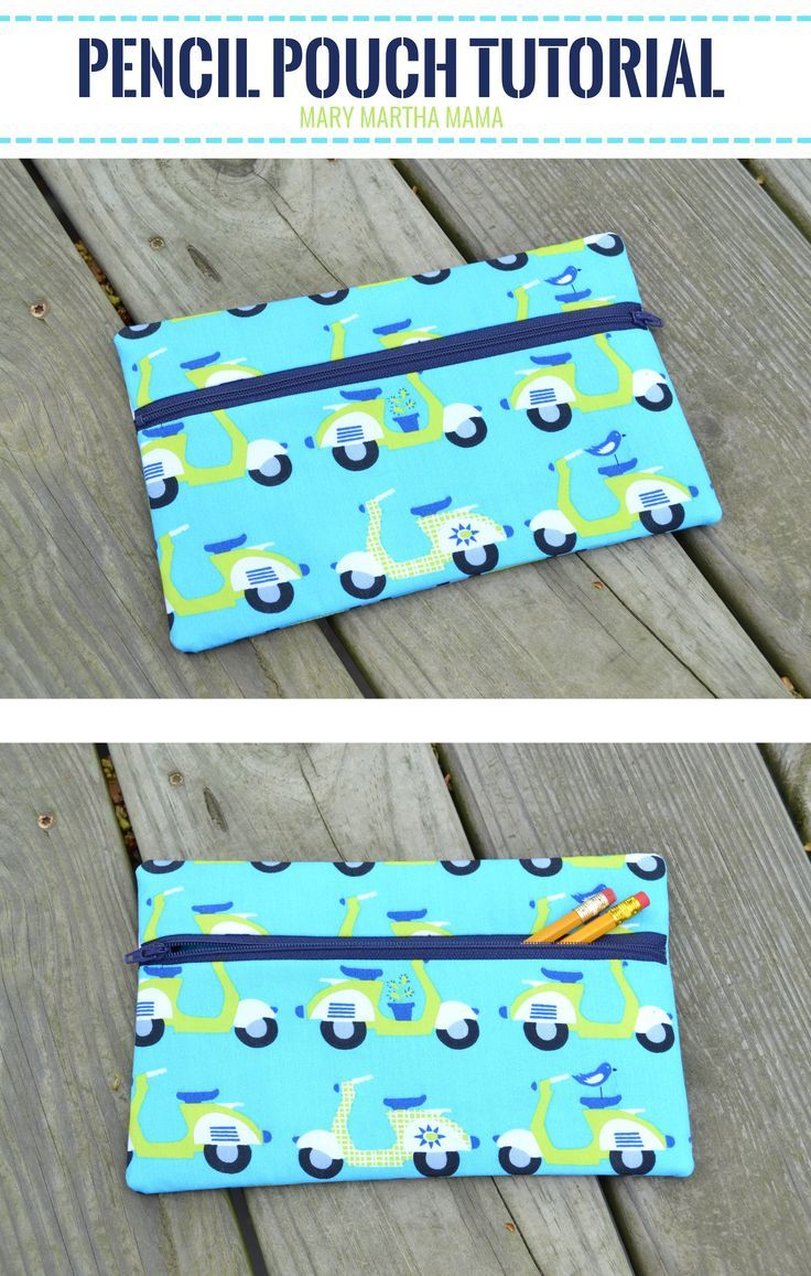 Pencil Pouch Tutorial – Mary Martha Mama- how to sew a pencil pouch with a zipper