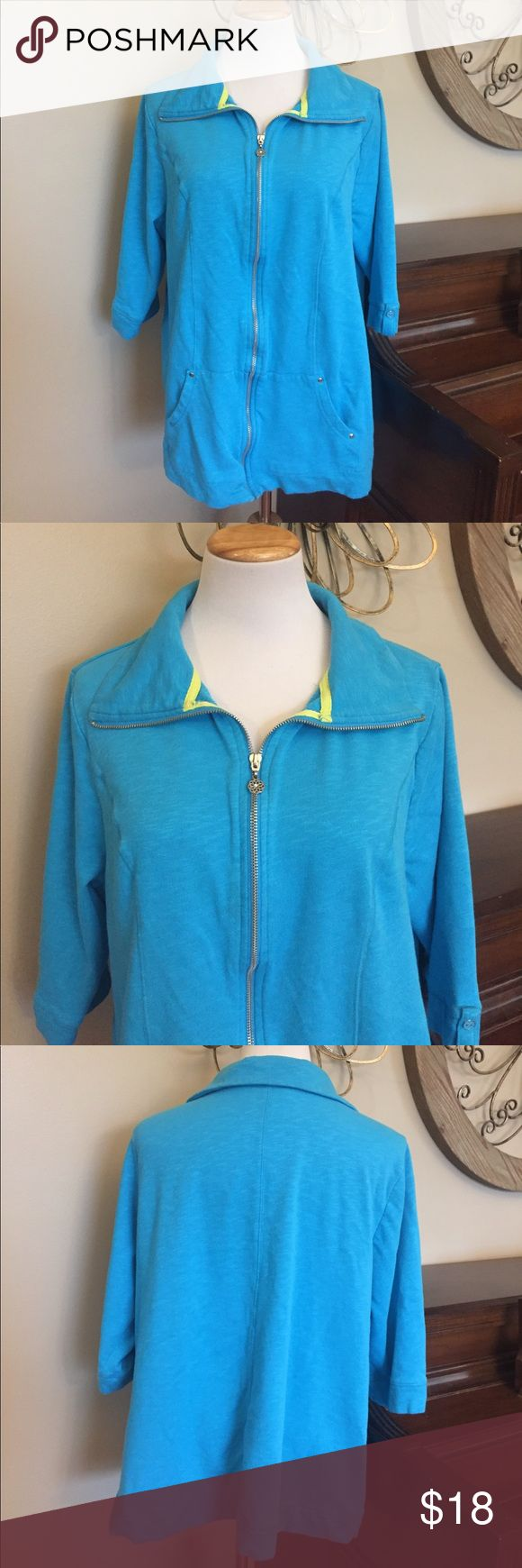 Catherine's Size 1X Blue Zip Up Sweatshirt Jacket Good condition. No stains holes etc. Has minimal was wear - not really noticeable but wanted to mention. Zips up the front. Size 1X from Avenue Avenue Tops Sweatshirts & Hoodies