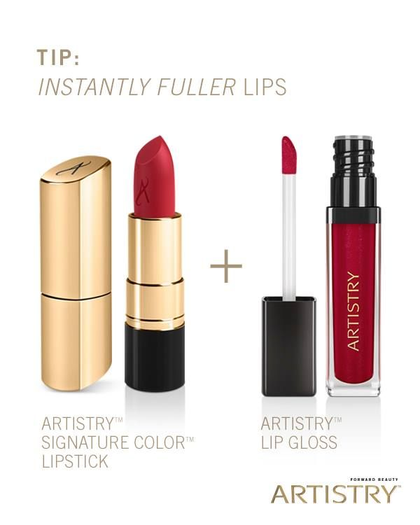 Products: ARTISTRY Lip Gloss and ARTISTRY Signature Color Lipstick    --Apply gloss to your lips, then follow with a coordinating lipstick. Applying the lipstick over the gloss creates an added illusion of fullness. http://Amway.com/kathypyle