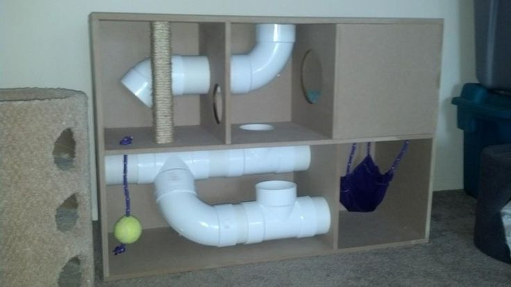 Homemade ferret playhouse, be sure the PVC tubes are well over the size of your ferret!