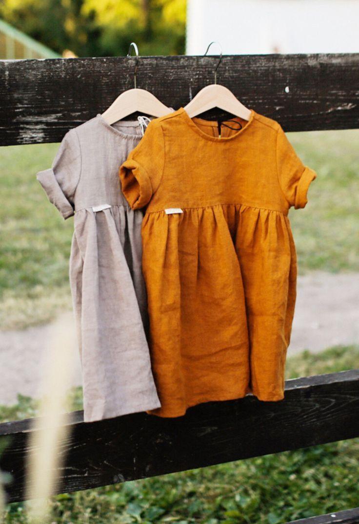 Handgefertigte Leinen Baby Kleinkind Kleider TinyStoriesClothes on Etsy #babykle
