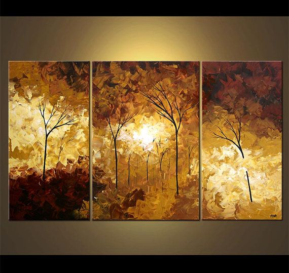 Forest Landscape Painting Modern Palette Knife Blooming
