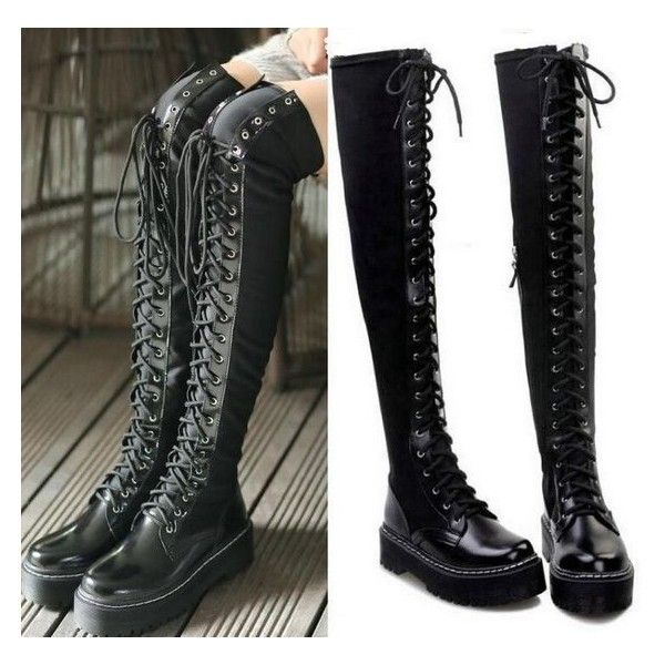 1a9b1930cc8 Chic Womens Gothic Punk Slouch Combat Boots Over Knee High Leather ...