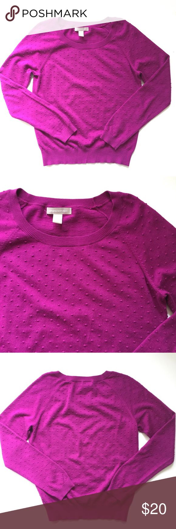 """Banana Republic Fuschia Swiss Dotted Sweater // M Awesome Banana Republic pullover sweater. Berry fine knit with dot texture. Very good condition. 70% cotton, 25% nylon, 5% cashmere. Size medium. 24"""" shoulder to bottom hem. 18"""" pit to pit. Banana Republic Sweaters Crew & Scoop Necks"""