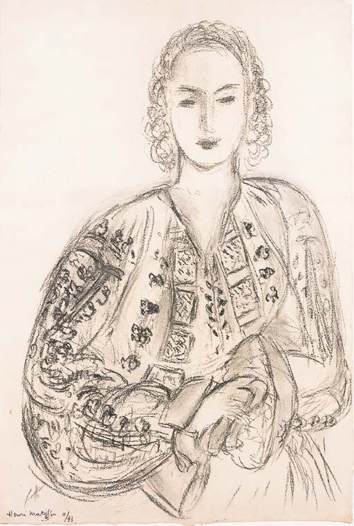 Femme à la blouse Roumaine - Henri Matisse 1943French 1869-1954 Charcoal on paper60 x 40,5cm.